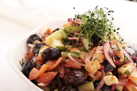mediteranean: greek salad in bowl Stock Photo