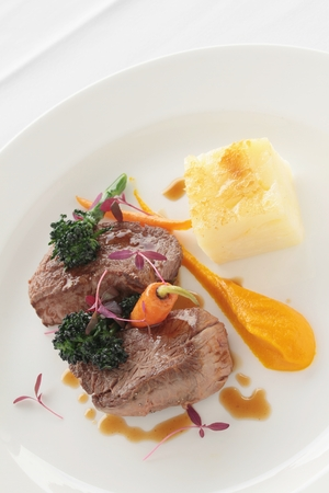 plated: beef lamb steak plated meal Stock Photo