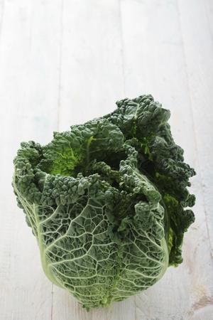 fresh whole savoy cabbage Stock Photo
