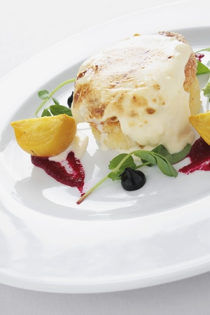 plated: cheese soufle appetizer starter