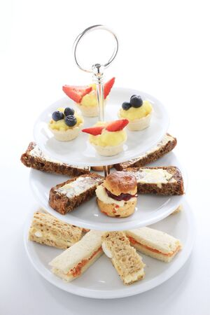 afternoon tea cake sandwich selectio Stock Photo