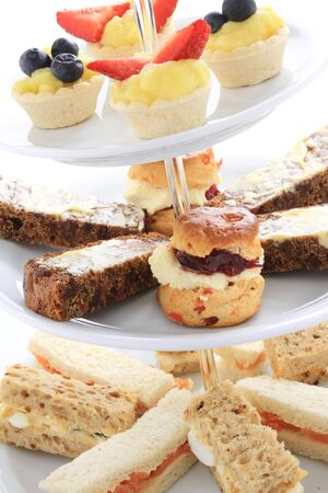 high tea: afternoon tea cake sandwich selectio Stock Photo