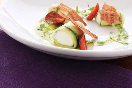 ricotta cheese: plated courgette and ricotta cheese appetizer Stock Photo
