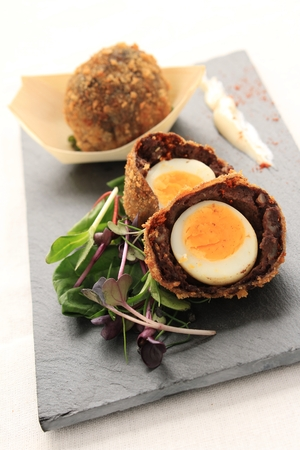scotch: scotch egg plated starter appetizer