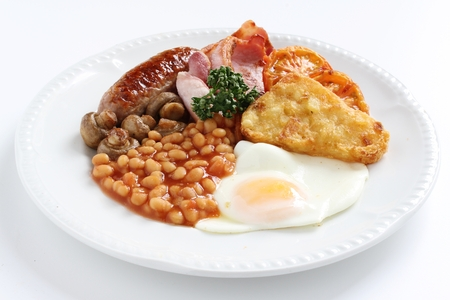 english breakfast: traditional cooked full English breakfast Stock Photo