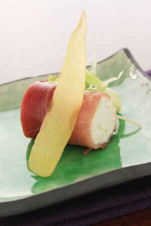 ricotta cheese: cured ham and ricotta cheese