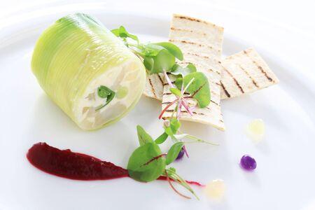 starter: fish and leek roulade starter appetizer