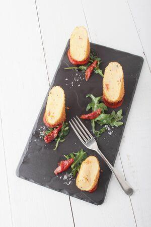 starter: plated potato croquette appetizer starter