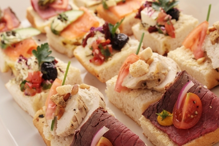 open sandwich canapes Stock Photo