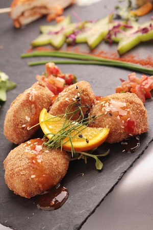 canapes: mixed canapes on state platter Stock Photo