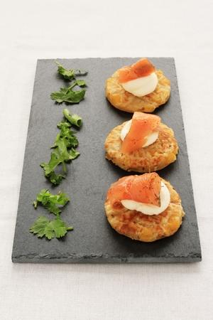 plating: smoked salmon corn bread canapes