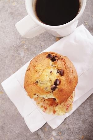 choc: fresh coffe with choc chip muffin Stock Photo