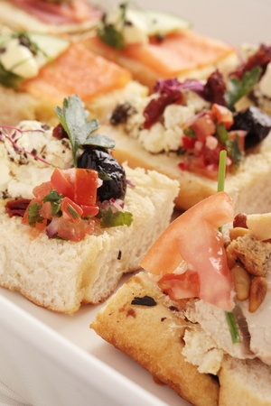 canapes: open sandwich canapes Stock Photo