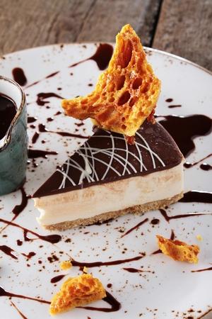torte: plated chocolate torte dessert