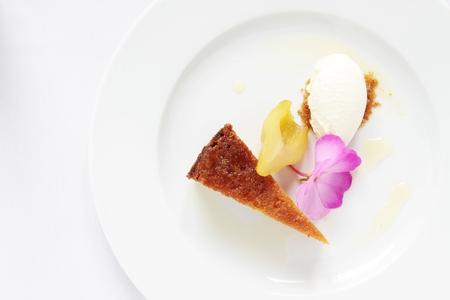 drizzle: pear drizzle sponge cake Stock Photo