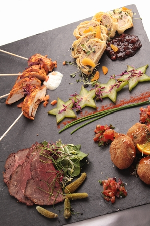 beefburger: canape selection platter Stock Photo