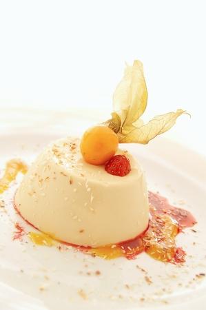 pannacotta: pannacotta dessert with strawberries