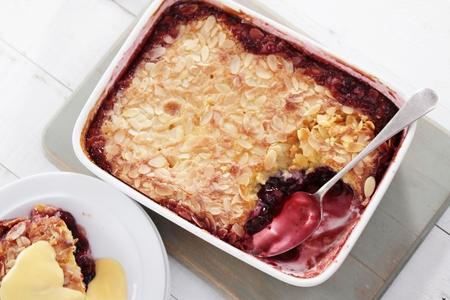 preperation: home baked cherry dessert