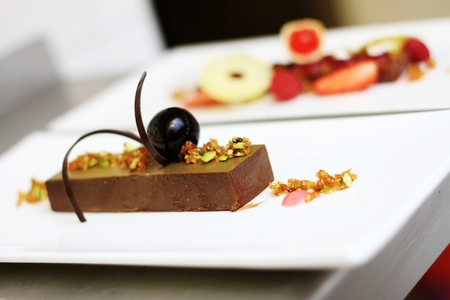 indulgent: plated chocolate dessert