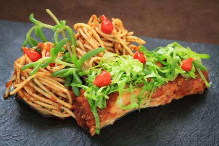 salmon steak: plated salmon steak meal