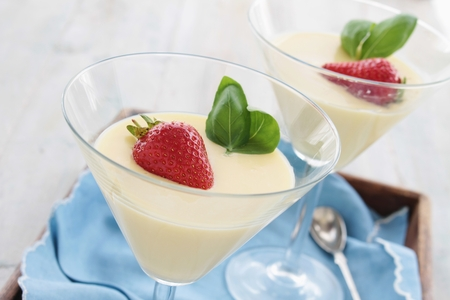 white chocolate mousse dessert Stock Photo