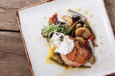 mediteranean: salmon fillet plated meal