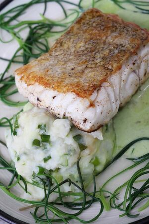 loin: cod loin with monks beard Stock Photo