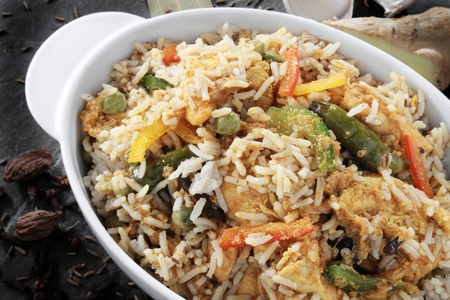 asian food: Indian biryani rice curry