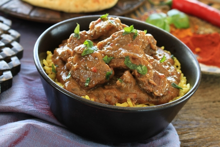 Carne de vacuno indio curry de cordero Foto de archivo