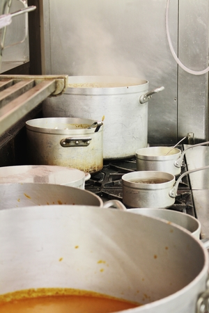 pans: kitchen pots and pans Stock Photo