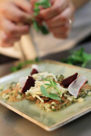 plater: gravlax salmon plated