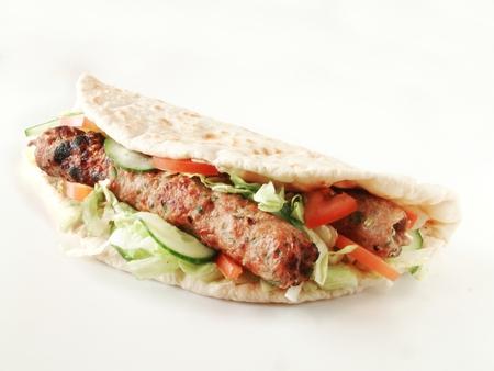 wraps: indio tikka kebab sándwich de envoltura Donner Foto de archivo