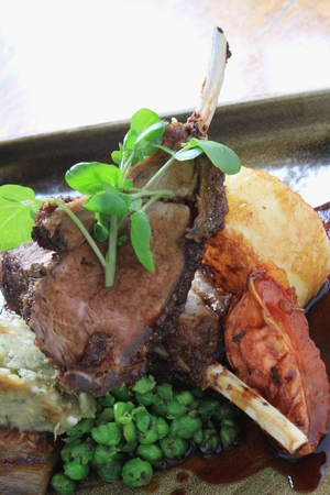 lamb chop: roast lamb chop dinner Stock Photo