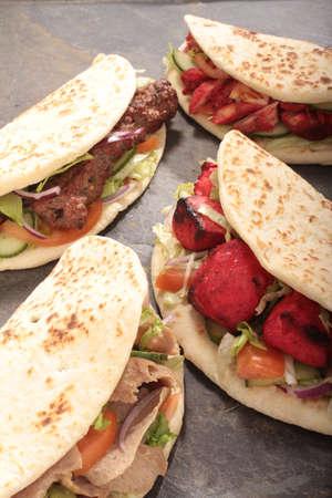 donner: indian tikka shish donner wrap sandwich Stock Photo