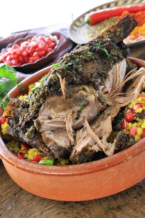 moroccan cuisine: roast  moroccan lamb meal