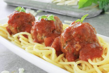 craftsperson: Italian meatballs in tomato sauce Stock Photo