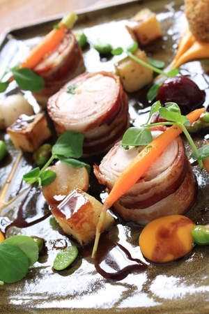 roulade: rabbit chicken roulade with vegetables