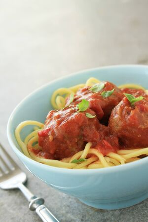 tomato sauce: Italian meatballs in tomato sauce Stock Photo