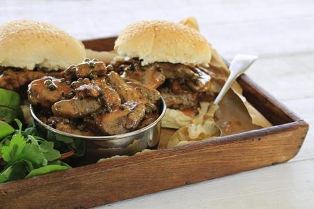 peppercorn: steak in peppercorn sauce sandwich roll