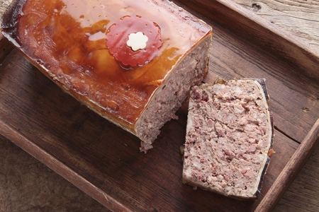 lunch tray: rustic French pat in wooden tray