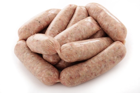 uncooked: uncooked pork sausages Stock Photo