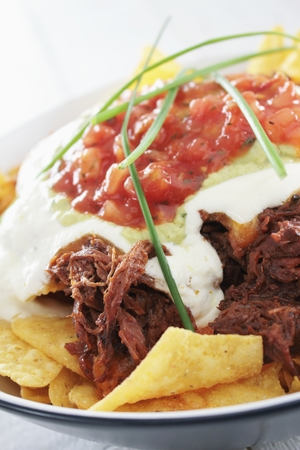 tortilla chips: tortilla chips with pulled pork Stock Photo