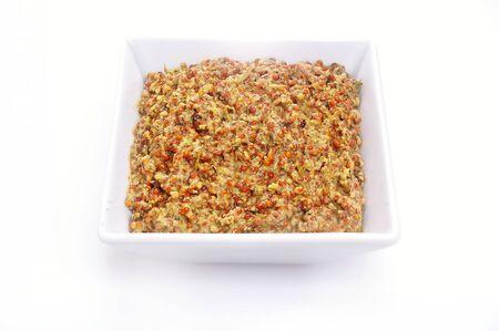 wholegrain mustard: mustard in dish