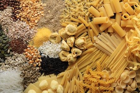 dried pasta rice seeds grains varieties