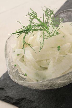 pickled: pickled kohlrabi in dish Stock Photo