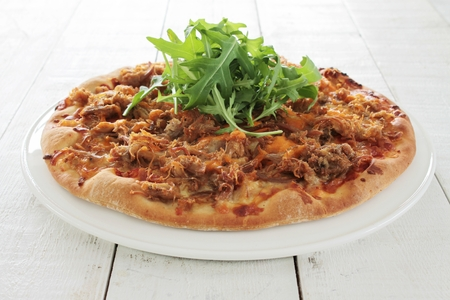 pulled: pulled chicken pizza with rocket