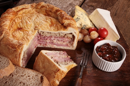 pork pie plughmans lunch Stock Photo