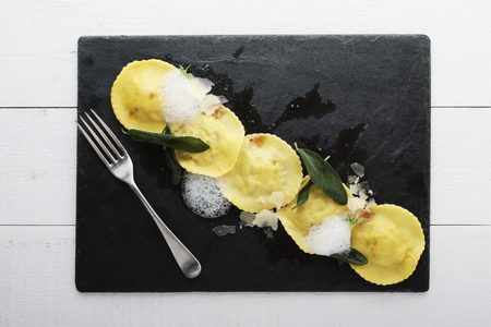 plated: fresh ravioli plated meal