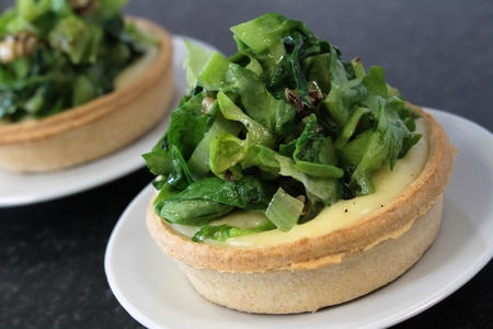 braised: braised cabbage and cheese tartlet