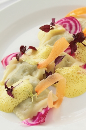 plated: fresh ravioli plated appetizer starter Stock Photo